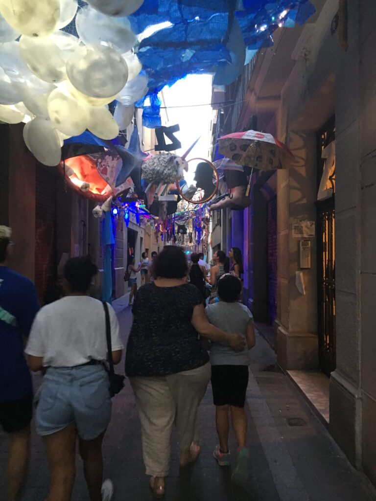 My ladies walking at Festa de Gràcia